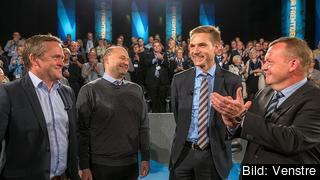Partiledarna för den borgerliga oppositionen: Anders Samuelsen (Liberal Alliance), Søren Pape Poulsen (De Konservative), Kristian Thulesen-Dahl (Dansk Folkeparti) och Lars Løkke Rasmussen (Venstre). Arkivbild.