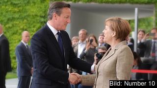 Storbritanniens premiärminister David Cameron och Tysklands förbundskansler Angela Merkel. Arkivbild.