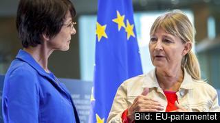 EU:s sysselsättningskommissionär Marianne Thyssen som ansvarar för paketet och EU-parlamentariker Marita Ulvskog i samtal. Arkivbild.