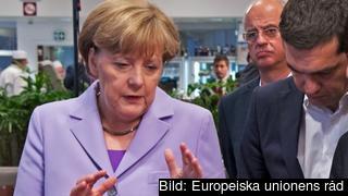 Angela Merkel, Alexis Tsipras och François Hollande under torsdagens toppmöte.