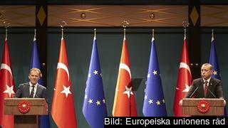 Europeiska rådets ordförande Donald Tusk och Turkiets president Recep Tayyip Erdoğan vid ett möte tidigare i höst. Arkivbild.