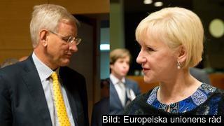 Sveriges utrikesministrar under 2014 Carl Bildt (M) och Margot Wallström (S). Arkivbilder.