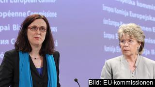 Kommissionärerna Cecilia Malmstöm och Viviane Reding. Arkivbild.