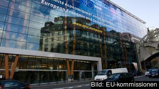 Europeiska ekonomiska och sociala kommitténs byggnad i Bryssel. Arkivbild.