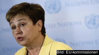 Kristalina Georgieva på besök vid FN-högkvarteret i New York. Arkivbild.