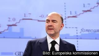 EU:s ekonomikommissionär Pierre Moscovici presenterar vinterns prognos över ekonomin i medlemsländerna.
