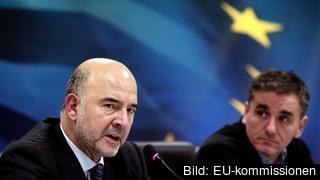 EU:s ekonomiskommissionär Pierre Moscovici och Greklands finansminister Euklidis Tsakalotos.