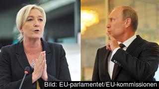 Nationella frontens ledare Marine Le Pen och Rysslands president Vladimir Putin. Arkivbild.