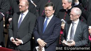 De tre största EU-institutionernas ledare: Martin Schulz, José Manuel Barroso och Herman Van Rompuy. Arkivbild.