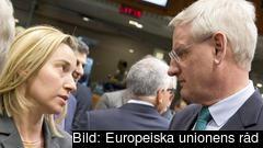Italiens utrikesminister Federica Mogherini diskuterar med Sveriges utrikesminister Carl Bildt. Arkivbild.