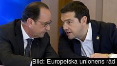Frankrikes president François Hollande och Greklands premiärminister Alexis Tsipras. Arkivbild.