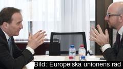 Statsminister Stefan Löfven (S) i samtal med Belgiens premiärminister Charles Michel. Arkivbild.